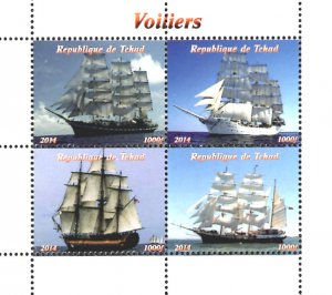Chad 2014 Sailing Ships Transports 4v Mint S/S. (#41)