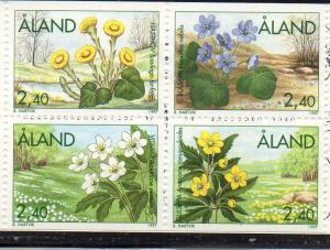 Aland Sc  130-3 1997 Flowers stamp set mint NH