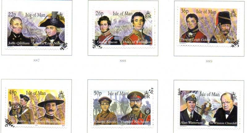 Isle of Man Sc 861a-3b 2000 Military Leaders stamp set used