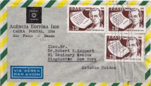 Brazil 2.50Cr Joaquim Caetano da Silva (3) c1958 Sao Paulo, Brasil Airmail to...