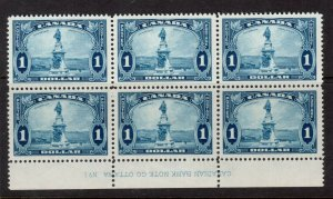 Canada #227 Very Fine Mint Plate #1 Block Of Six - 4 NH 2 Very Lightly Hinged