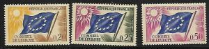 COUNCIL OF EUROPE FLAG 1O7-1O9 MNH C/SET