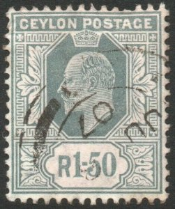 CEYLON-1905 1r50 Grey Sg 287 short perf at top GOOD USED V46454