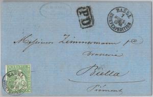 SWITZERLAND -  POSTAL HISTORY Brief -   COVER to BIELLA, Italy -  1863