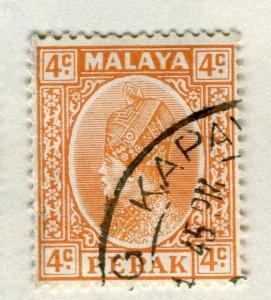 MALAYA PERAK 1935 early Sultan issue fine used 4c. value