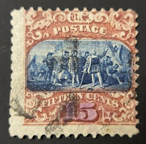 US stamp Scott #119 15 cent issue, Landing Of Columbus, Clear Grill, Used CV$190