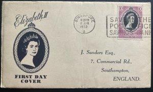 1953 Singapore Malaya Perak first day cover Queen Elizabeth II Coronation QE2