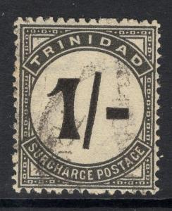 TRINIDAD SGD25a 1945 1/- BLACK UPRIGHT STROKE POSTAGE DUE FINE USED