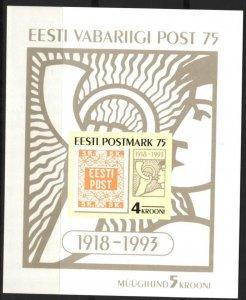 Estonia 1993 75th Anniversary of First Estonian Stamps S/S MNH