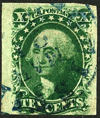 U.S. #13 Used Blue Cancel, Thin