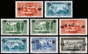 Lebanon Scott 63, 65-70, 71 (1926-27) Mint/Used H F-VF, CV $22.40 B