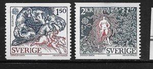 SWEDEN,1352-1353 HINGED, TROLL CHASING BOY