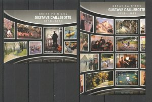 ML088 2016 MALDIVES ART FAMOUS PAINTINGS GUSTAVE CAILLEBOTTE BL+KB MNH