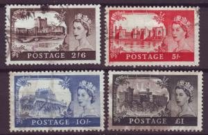 J13841 JLstamps 1955 great britain set used #309-12 queen wmk 308