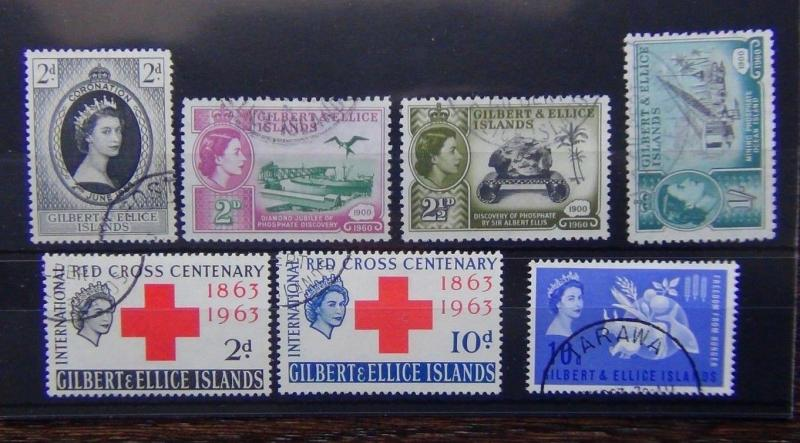 Gilbert & Ellice 1953 Coronation 1960 Phosphate 1963 FFH Red Cross VFU