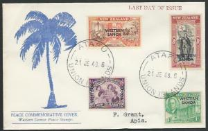TOKELAU IS 1948 cover - last day of Samoa PO - used from ATAFU.............11503