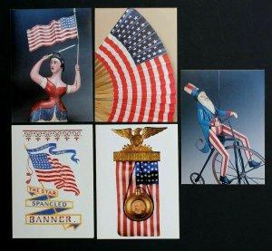 US Postal Cards UX390-94 MINT NH Old Glory Flag Complete Set USPS 2003