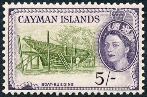 Cayman Islands 1955 5s Olive-Green & Slate-Violet SG160 MH