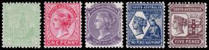 South Australia Scott 132-136 (1904) Mint H F-VF Complete Set, CV $68.25 M