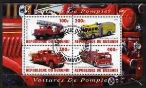 BURUNDI SHEET USED FIRE ENGINES FIREFIGHTERS