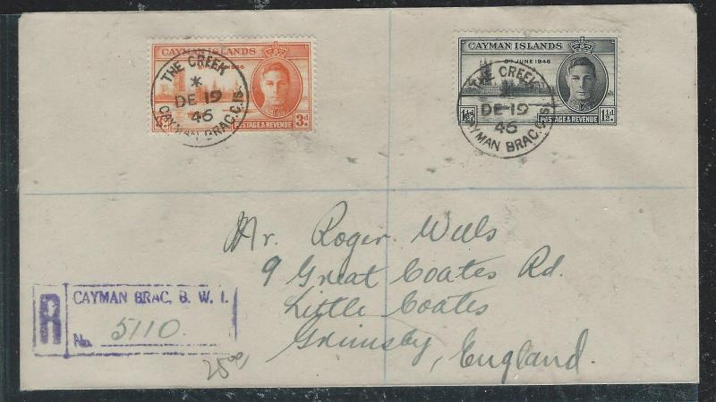 CAYMAN ISANDS (P1706B) 1946 PEACE SET REG COVER THE CREEK TO ENGLAND
