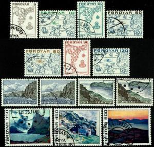 Faroe Islands #7-20  Used/CTO - Scenes and Maps Czeslaw Slania Engraver (1975)