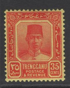 MALAYA TRENGGANU SG40 1926 35c CARMINE/YELLOW MTD MINT