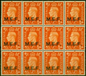 Middle East Forces 1942 2d Orange SGM2 Very Fine MNH Block of 12