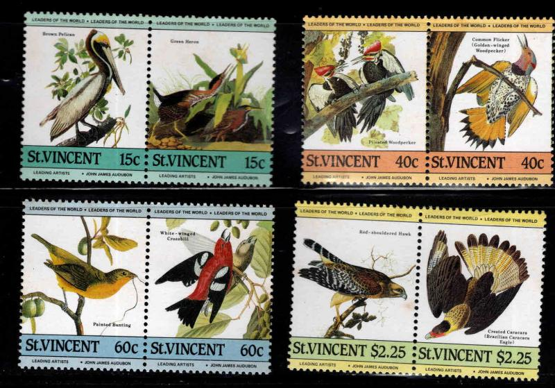 St Vincent Scott 807-810 MNH** 1985 Audoban Bird stamp pair set