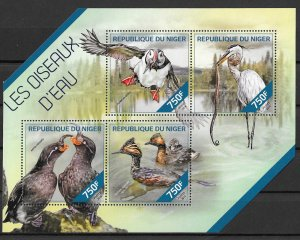 Niger MNH S/S Water Birds 2014