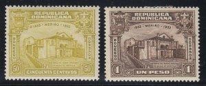 Dominican Republic 1933 50c & 1p Top Values LM Mint/M Mint. Scott 275 & 276