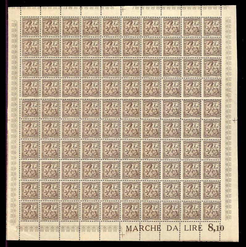 Italy 1941 8.10 L Fascist Social Security Stamp Mint Sheet #319B