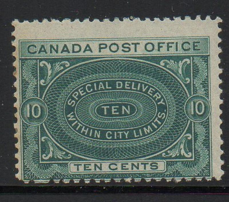 Canada Sc E1 1898 10c deep blue green special delivery stamp mint