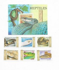 BENIN YEAR 1999 REPTILES SNAKES SOUVENIR SHEET + SET OF 6 STAMPS MNH