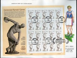 UNITED STATES 1996 CENTENNIAL OLYMPIC GAMES SHEET ON  FIRST DAY CANCEL CARD