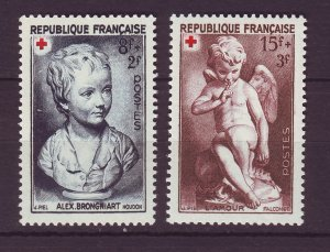 J24677 JLstamps 1950 france set mh #b235-6 red cross