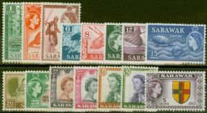 Sarawak 1955-57 set of 15 SG188-202 V.F MNH
