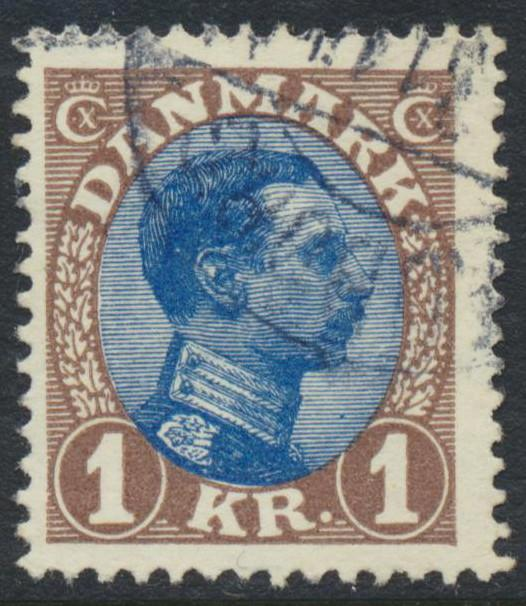 Denmark Scott 128 (AFA 131a), 1Kr brown/blue Chr. X, F+ Used