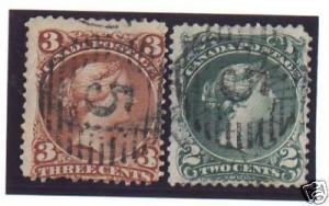Canada #24 & #25 Used #5 Grid Duo