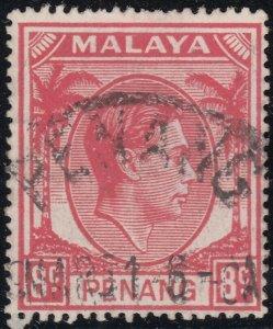 Penang 1949 KGVI 8c Scarlet Used