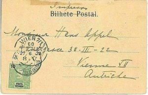 01548 - PORTUGAL : PONTA DELGADA - POSTAL HISTORY - POSTCARD to AUSTRIA 1908