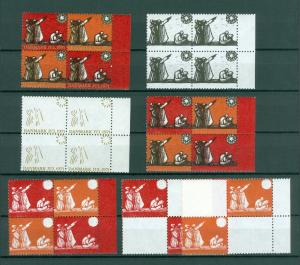 Denmark Christmas Seal 1971 Set 7. 4-Blocks,Scale/Proof,Mnh. Perforated