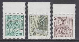 Korea Sc 582-584 MNH. 1967 redrawn definitives, cplt set, fresh, bright, VF.