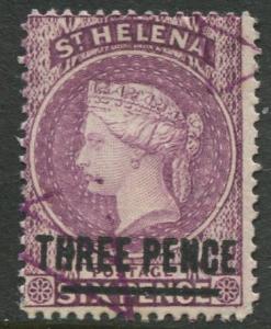 St.Helena - Scott 37 - QV Overprint -1884 - VFU - Single 3p on a 6p Stamp