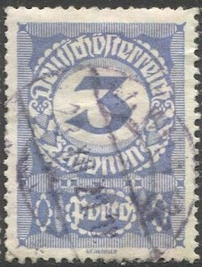 AUSTRIA 1920  Sc J87 3k Postage Due Used, VF, White Paper variety