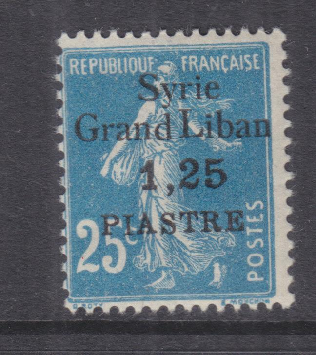 SYRIA, 1924 Syrie-Grand Liban, 1pi.25 on 25c. Blue, lhm.