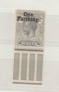 Malta KGV 1922 Farthing On 2d SG22 MH Margin  J9000