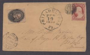**US Local Cover SC# 15L18 + SC# 26 Bloods Penny Post Tied, 1859 CV $350.00
