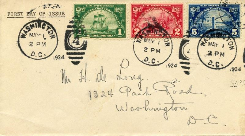U.S. Scott 614, 615, 616 Huguenot-Walloon Tercentenary Scarce FDC