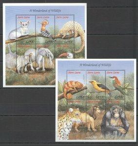 PK209 SIERRA LEONE FAUNA WILD ANIMALS A WONDERLAND OF WILDLIFE 2KB MNH STAMPS